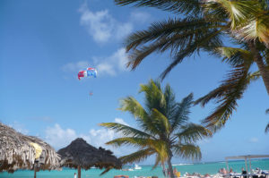 clear day at the beach with parasailers in the air
