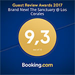 Booking.com award for the sanctuary at los corales