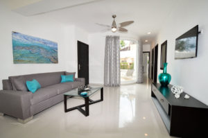 living room of the ground floor condo at The SANCTUARY at Los Corales