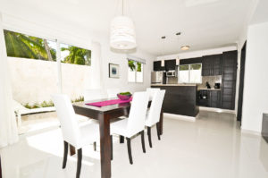 dining room and kitchen in ground floor condo at The SANCTUARY at Los Corales