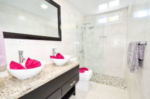 bathrooom with standing shower in ground floor condo at The SANCTUARY at Los Corales