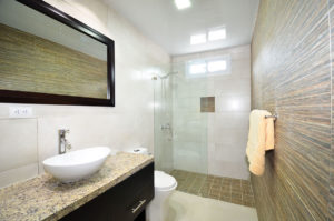 bathroom with standing shower in ground floor condo at The SANCTUARY at Los Corales
