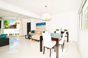 dining room and living room in second floor condo at The SANCTUARY at Los Corales