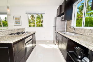 kitchen area in second floor condo at The SANCTUARY at Los Corales