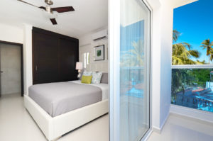bedroom with balcony in penthouse condo at The SANCTUARY at Los Corales